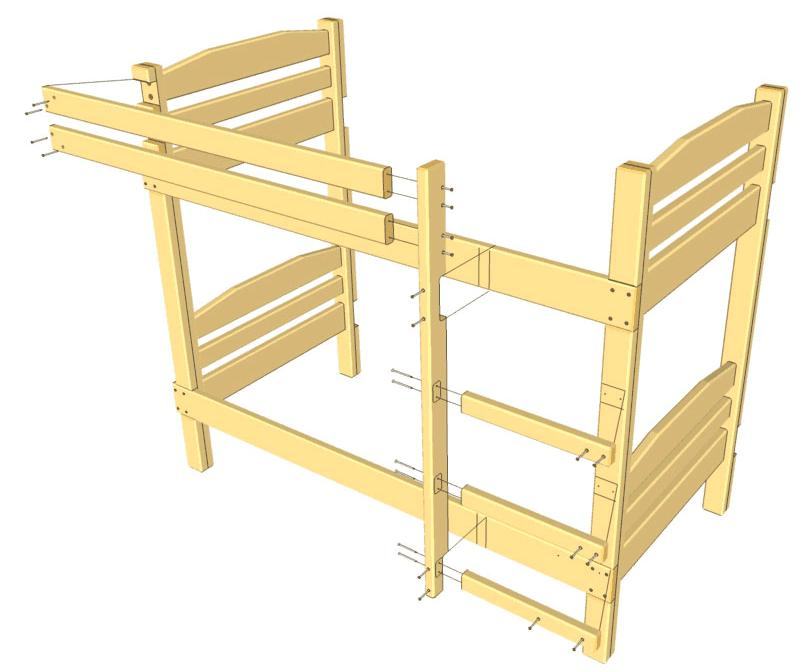 Схема соединения боковин и поперечин кровати