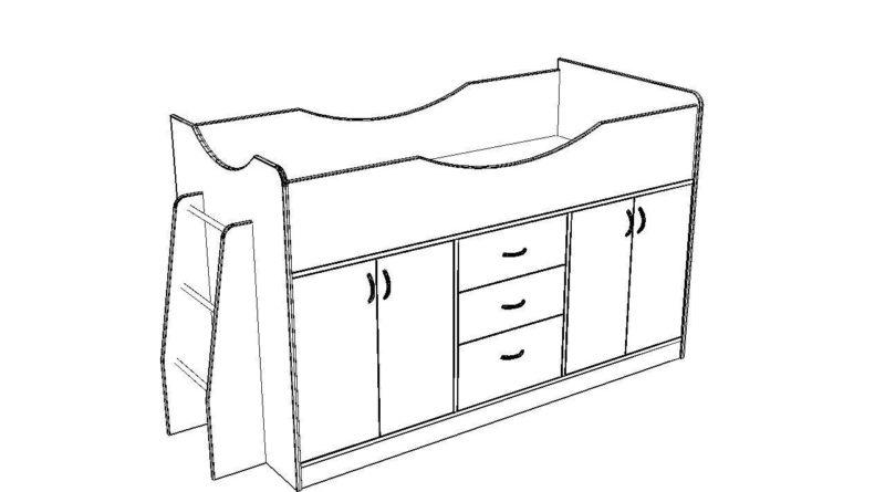 Общий вид кровати-чердака со шкафом на первом ярусе