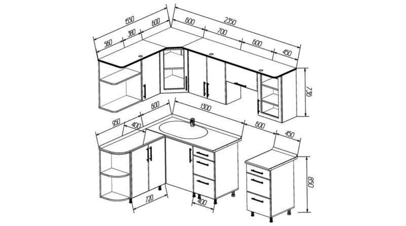 Общий вид кухни с размерами