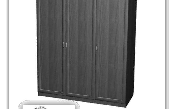 Общий вид трехдверного шкафа с размерами