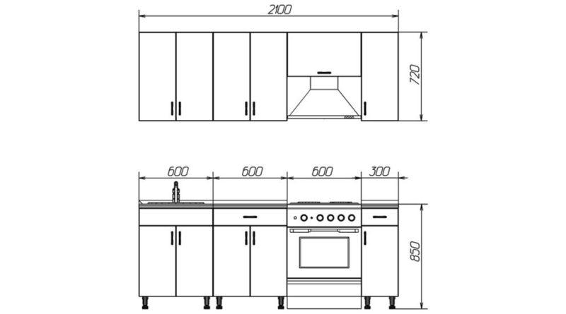 Размеры кухни в фас