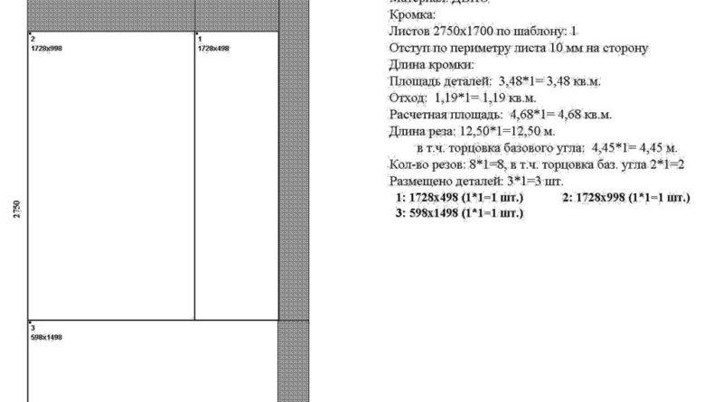 Раскрой ДВП для трехдверного шкафа, лист 1