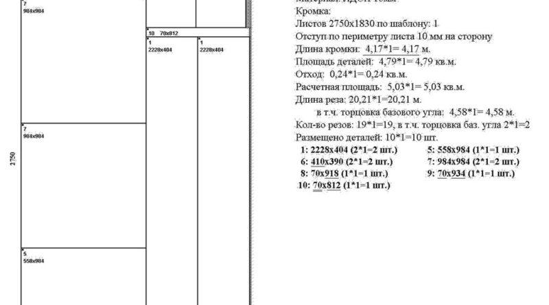 Раскрой ЛДСП для углового шкафа, лист 1