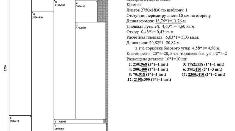 Раскрой ЛДСП для углового шкафа, лист 2