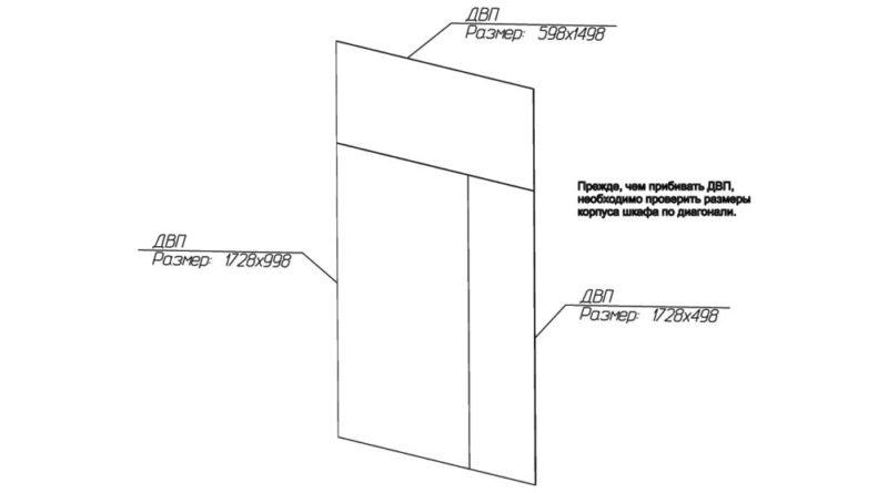Схематичное расположение ДВП на чертеже шкафа с размерами