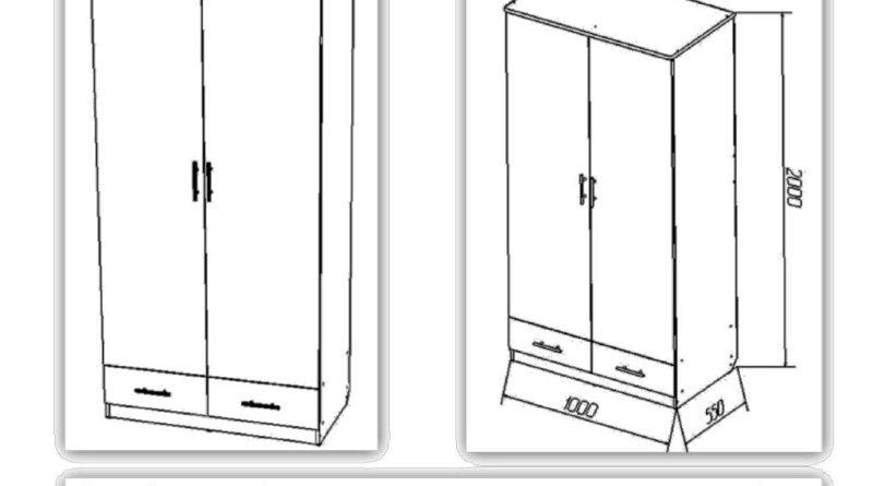Схематичный чертеж двухстворчатого шкафа
