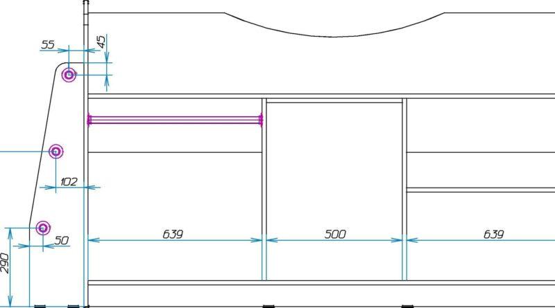 Схема крепления лестницы и внутренние размеры шкафа