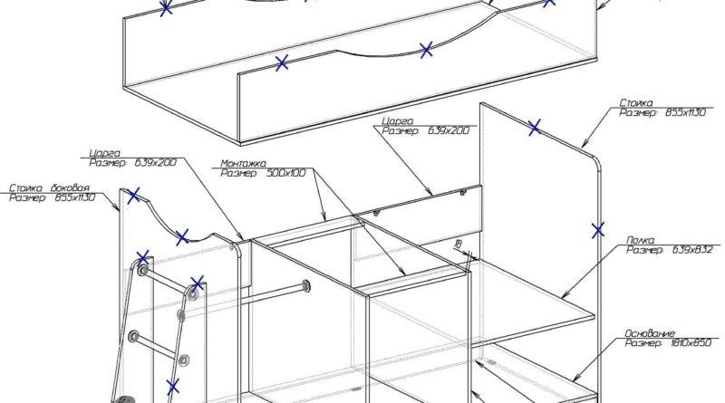 Схема кровати-чердака с размерами деталей