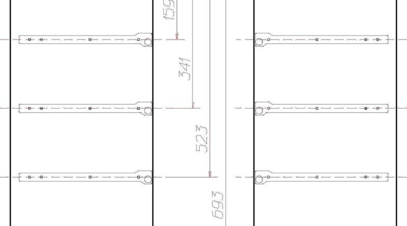Схема-разметка под направляющие для ящиков