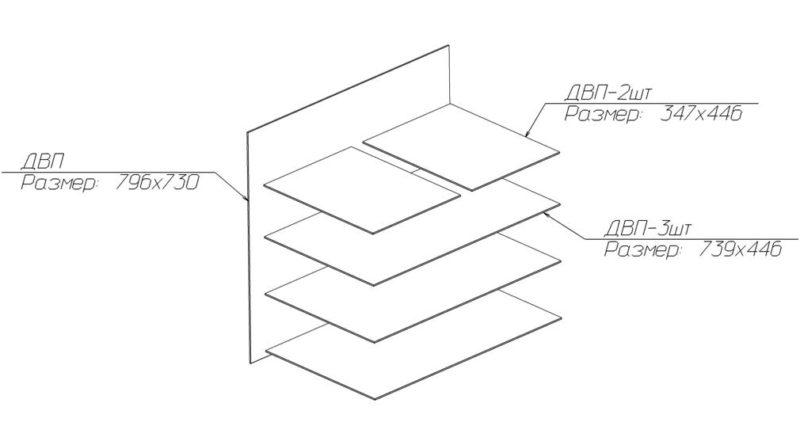 Схема расположения деталей из ДВП в чертеже комода