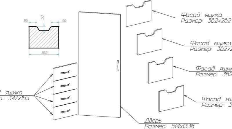 Схема расположения фасадных элементов с размерами