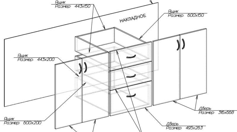 Схема расположения ящиков и их размер