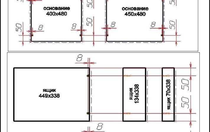 Схема сборки и присадка деталей ящиков