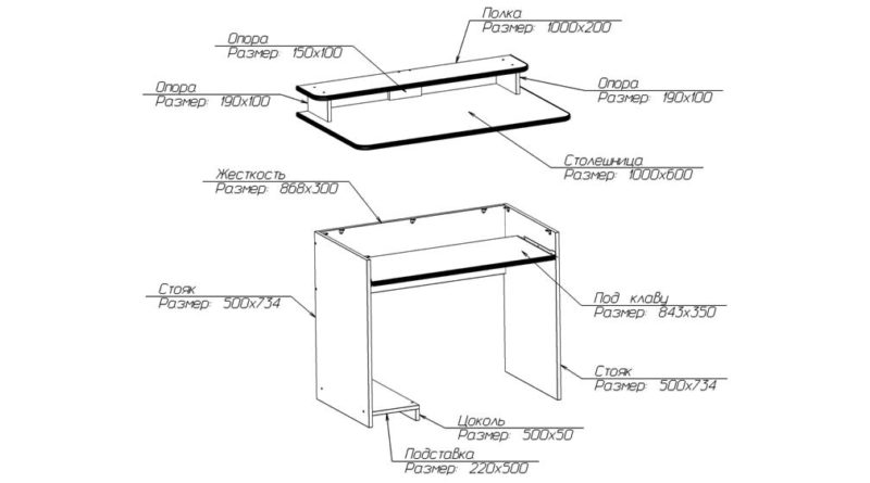 Схема сборки компьютерного стола с размерами деталей
