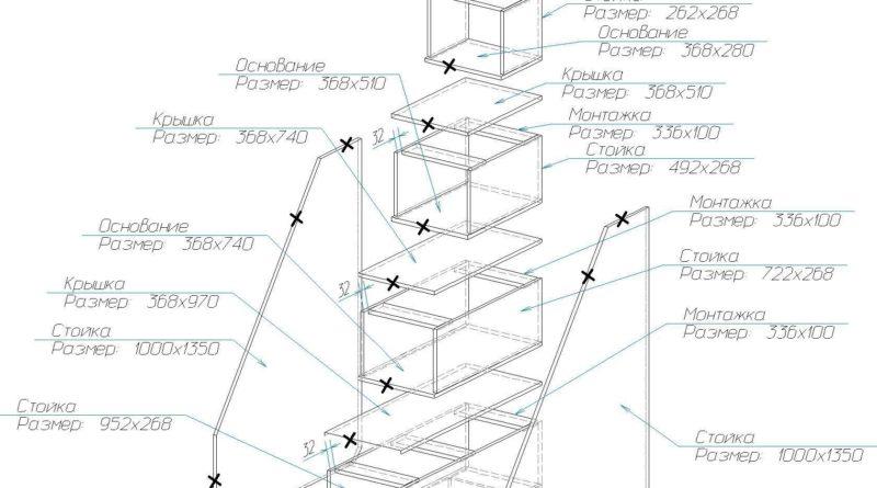 Схема сборки лестницы с размерами и крепежом
