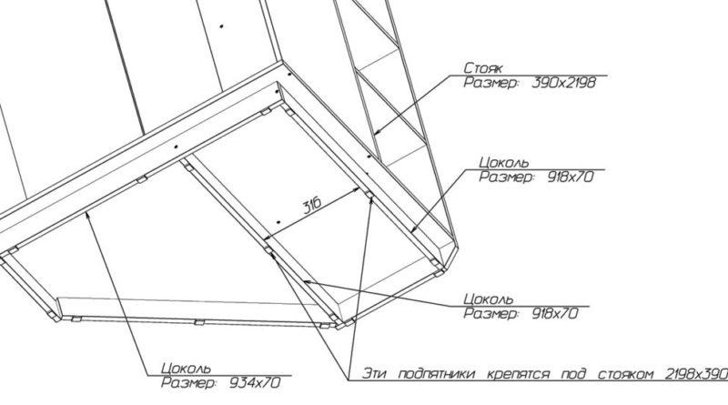 Схема сборки основания углового шкафа