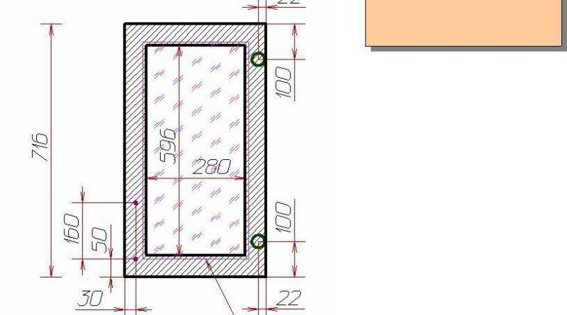 Чертеж дверцы для верхнего углового шкафа