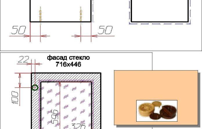 Чертеж дверцы и полок для верхнего шкафа с одной дверцей