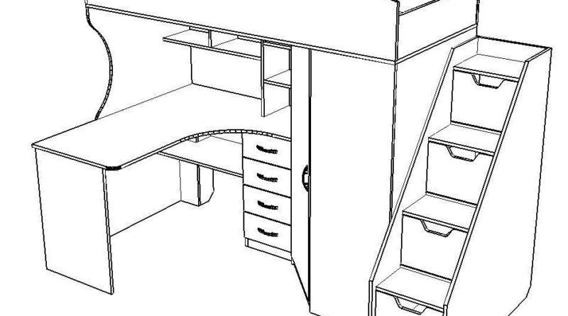 Чертеж детской кровати-чердака со столом и шкафом