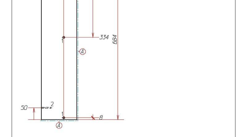 Чертеж задней стенки прямоугольной с присадкой под отверстия
