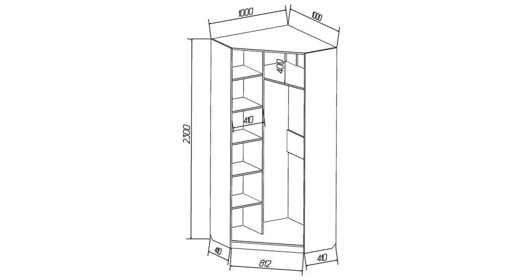 чертеж углового шкафа 2300 X 1000 из лдсп для сборки своими руками