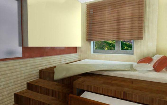 Двухспальная кровать-подиум с видвижными ящиками