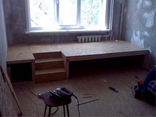 Кровать-подиум обшитый фанерой