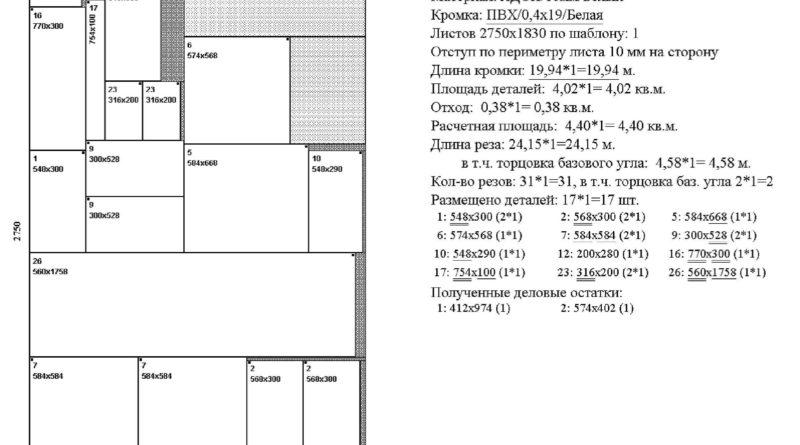 Раскрой ЛДСП для угловой кухни, лист 2