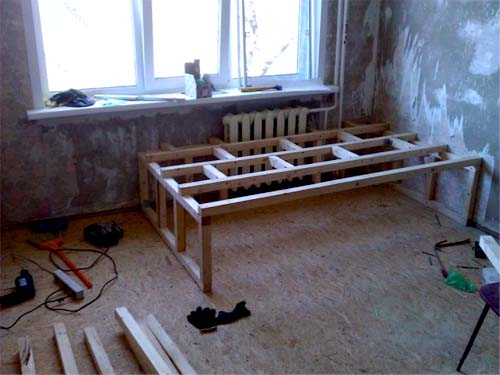 Сборка подиума для кровати в спальне