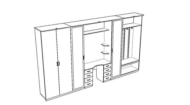 Схематичный вид длинного шкафа в прихожую