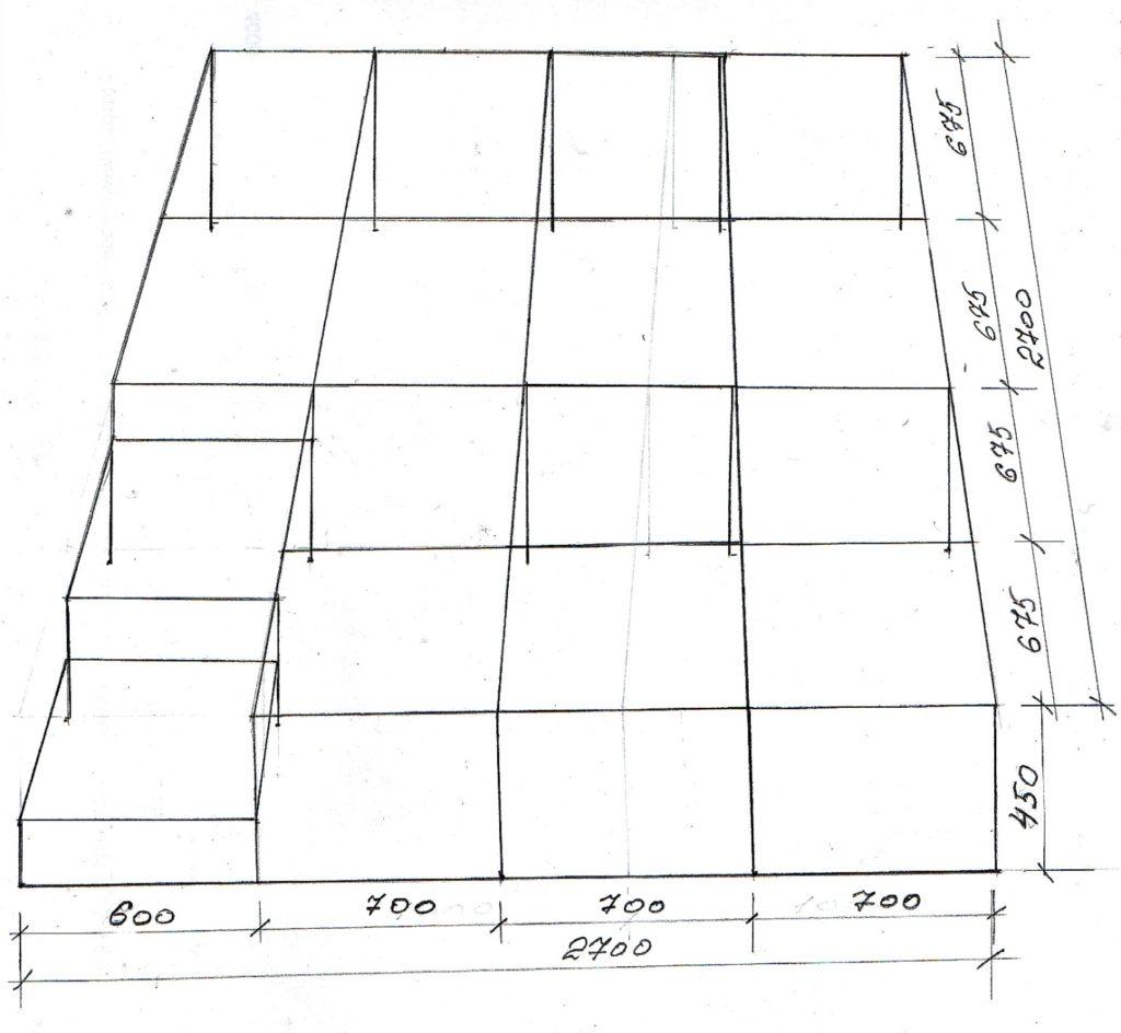 Схема каркаса подиума для кровати