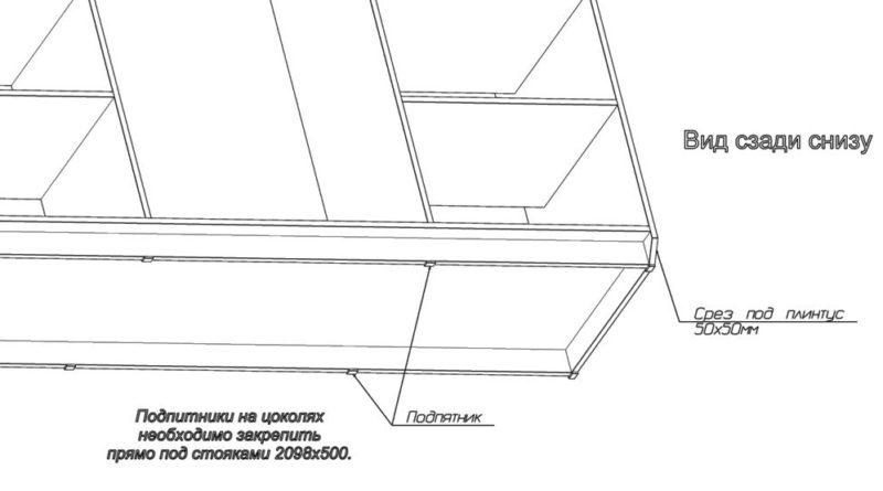 Схема крепеления опоры для трехдверного шкафа купе