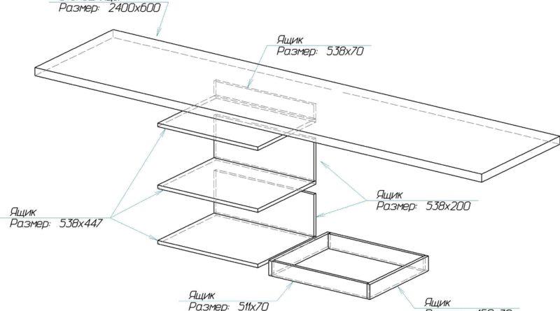 Схема расположения столешницы и ящиков в прямой кухне
