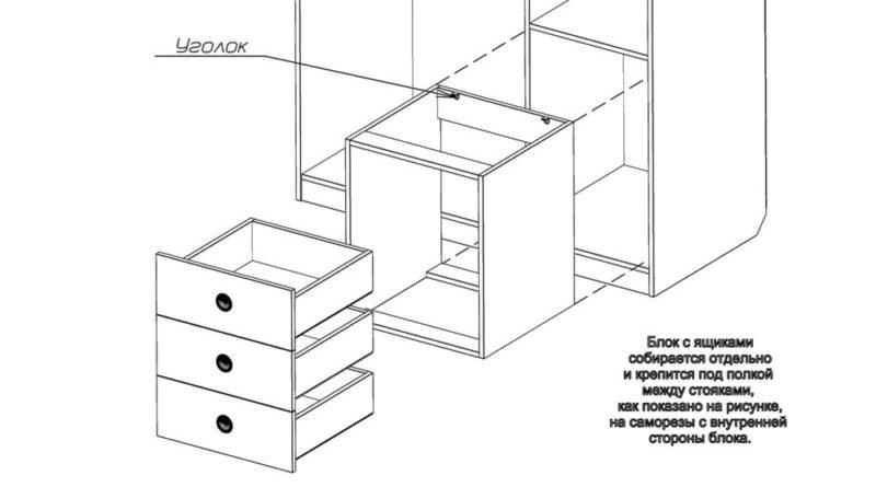 Схема сборки и крепления ящиков