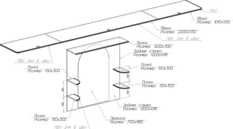 Схема сборки и расположения верхней полки шкафа