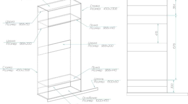 Схема сборки левого шкафа с дверьми