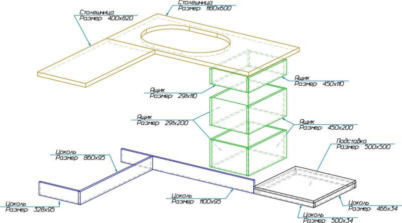 Схема сборки угловой кухни с размерами деталей