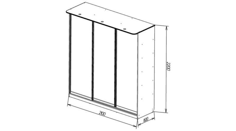 Схема трехдверного шкафа-купе с размерами