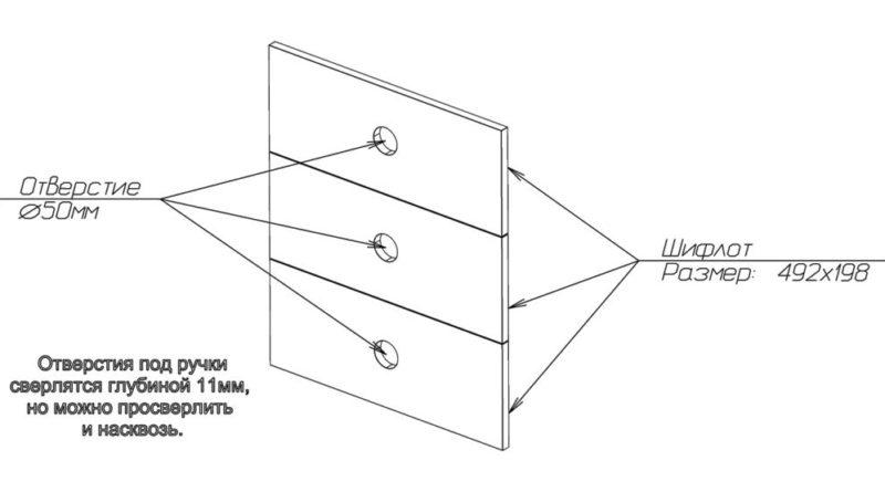 Схема фасадных деталей ящиков с размерами под ручки