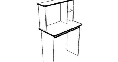 Схема-чертеж небольшого компьютерного стола