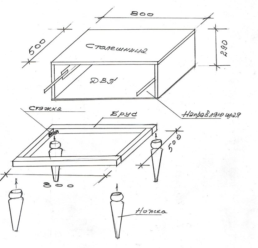 Схема-чертеж столика для макияжа с размерами