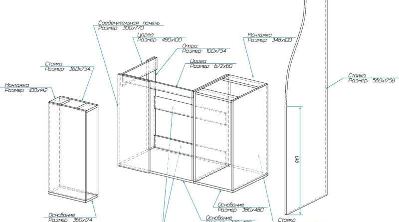 Чертеж с размерами деталей подстолья угловой кухни