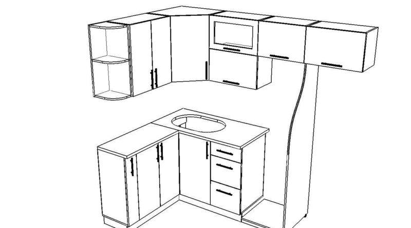 Чертеж угловой кухни с нишей под холодильник