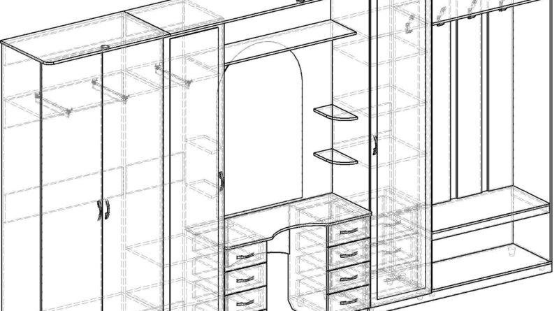 Прихожие с угловым шкафом своими руками чертежи 762