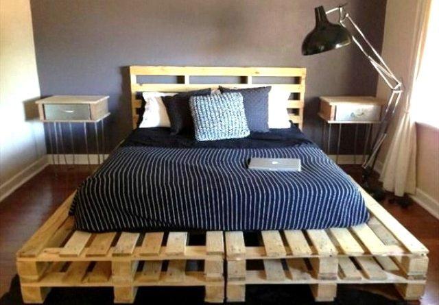 Сборка двухспальной кровати из поддонов (паллетов)