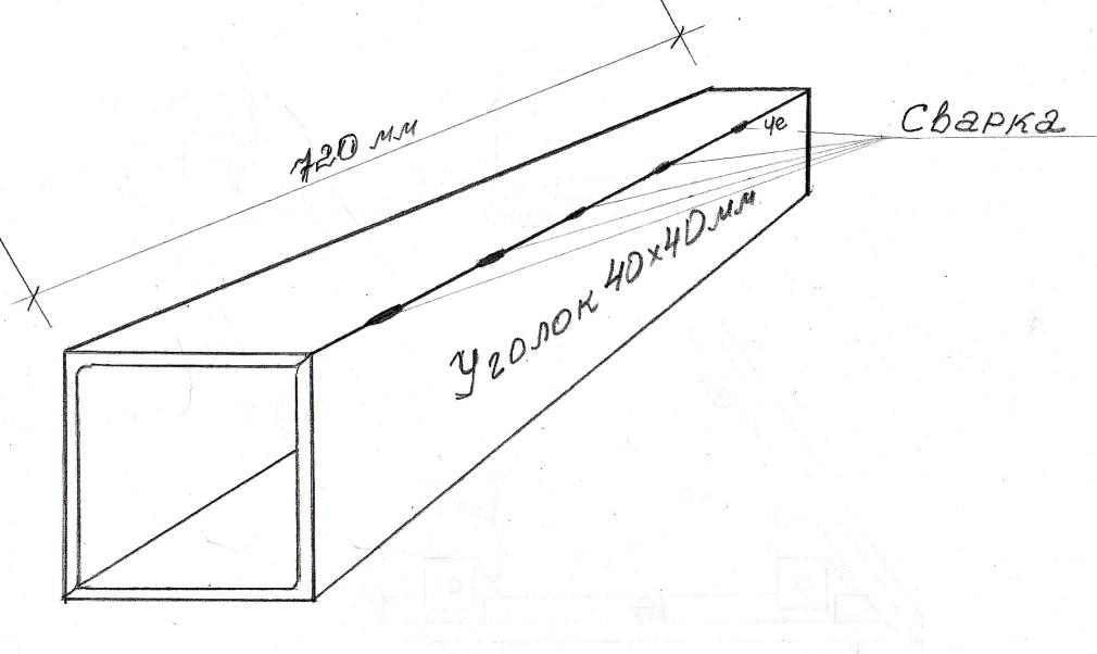 Сварка двух металлических уголков в квадрат для основания стола