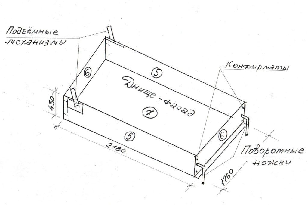 Схема-чертеж корпуса кровати