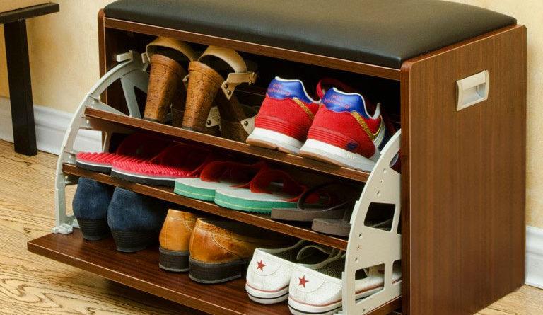 тумба для обуви из лдсп с двумя откидными полками мебель